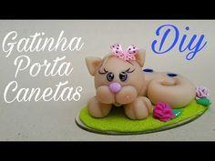 DIY GATINHA PORTA CANETAS - YouTube
