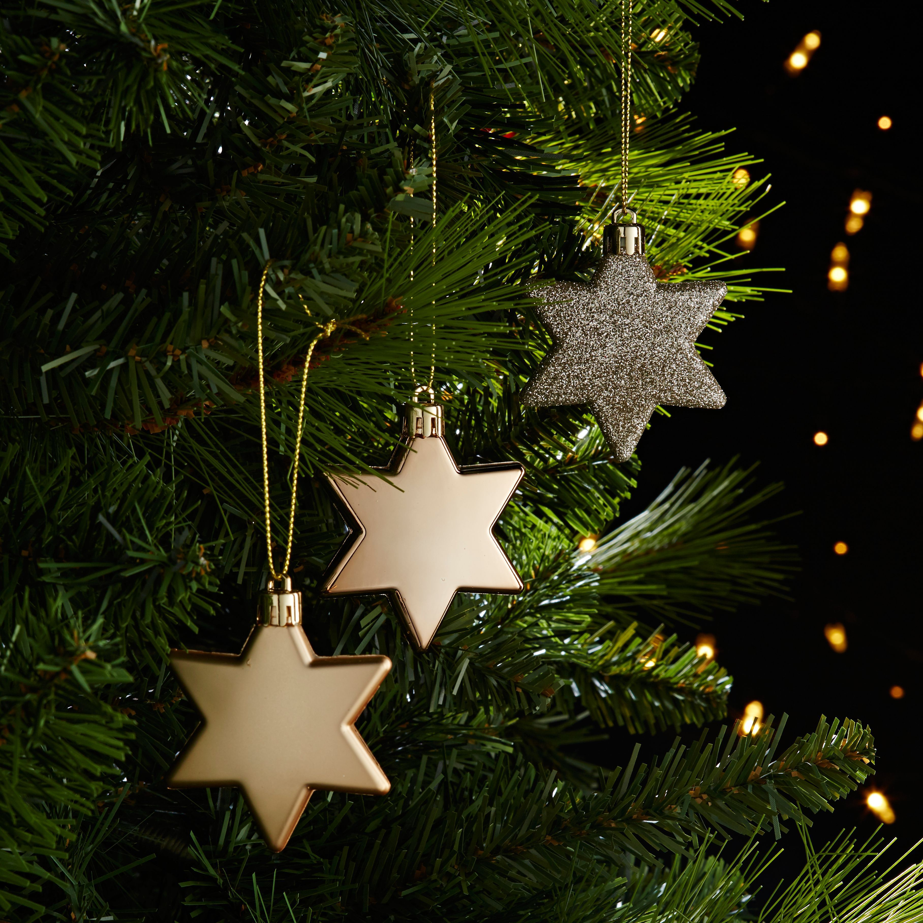 Assorted Champagne Star Decorations Pack Of 10 Holiday Decor Decor