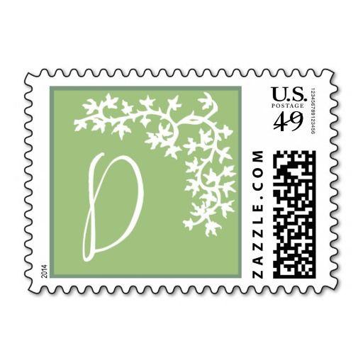 D Monogram (Green Ivy Corner) Postage Stamps