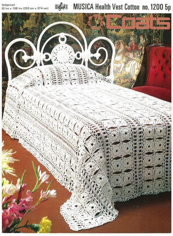 Coats crochet bedspread vintage crochet by AplaceofInterest, £1.49 ...