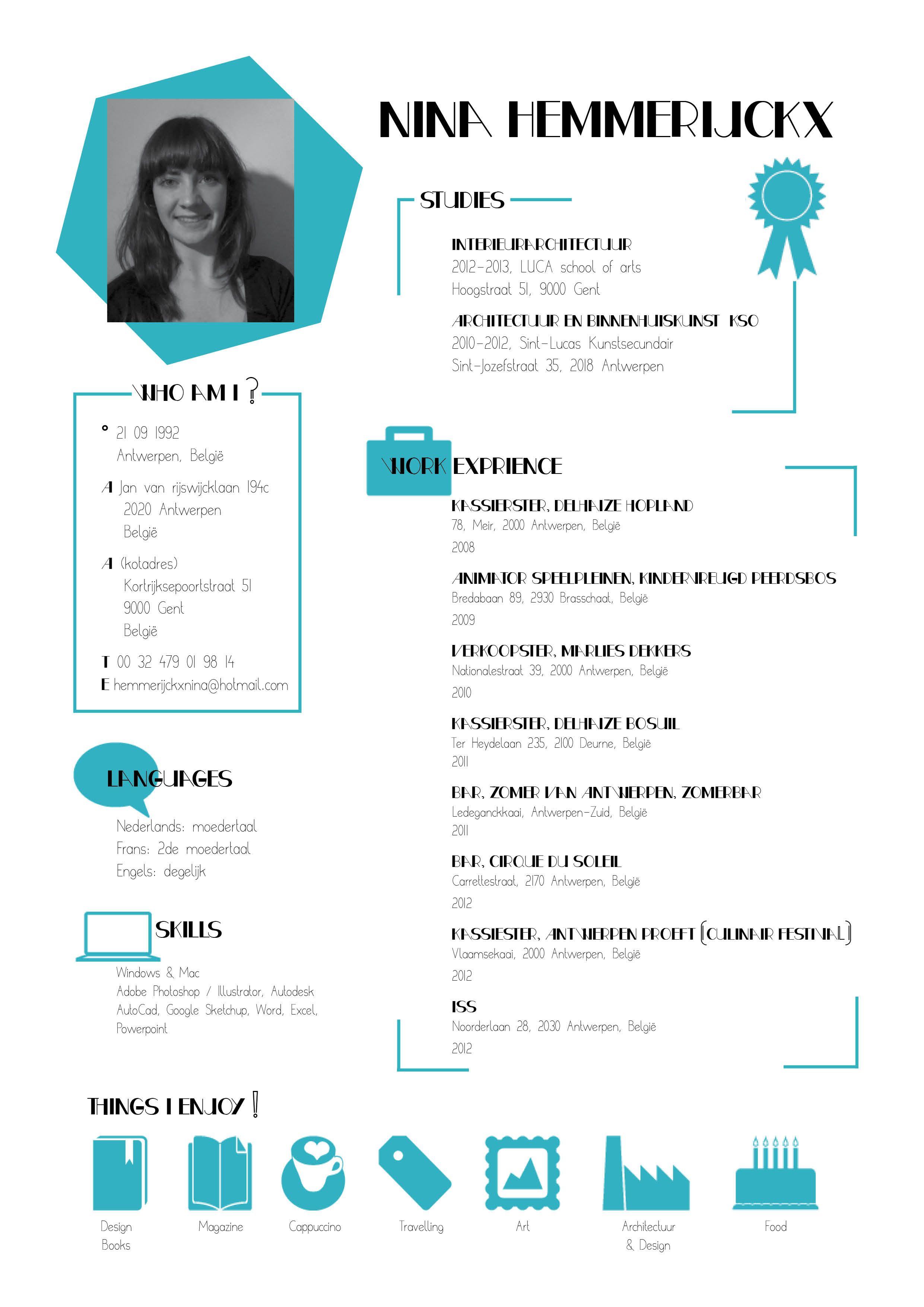 Nina Hemmerijckx Desain Resume Cv Kreatif Desain Cv