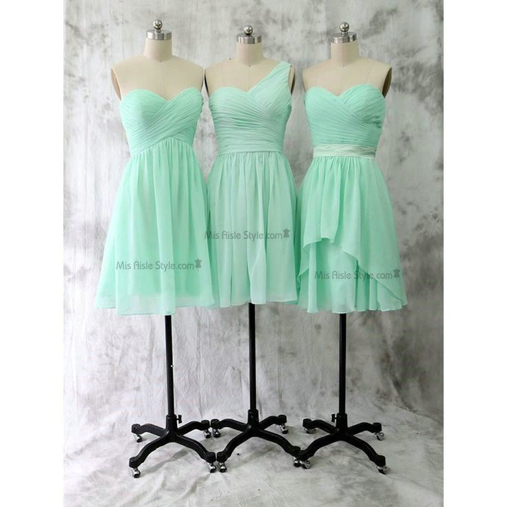 Short Empire Sweetheart Mint Bridesmaid Dress