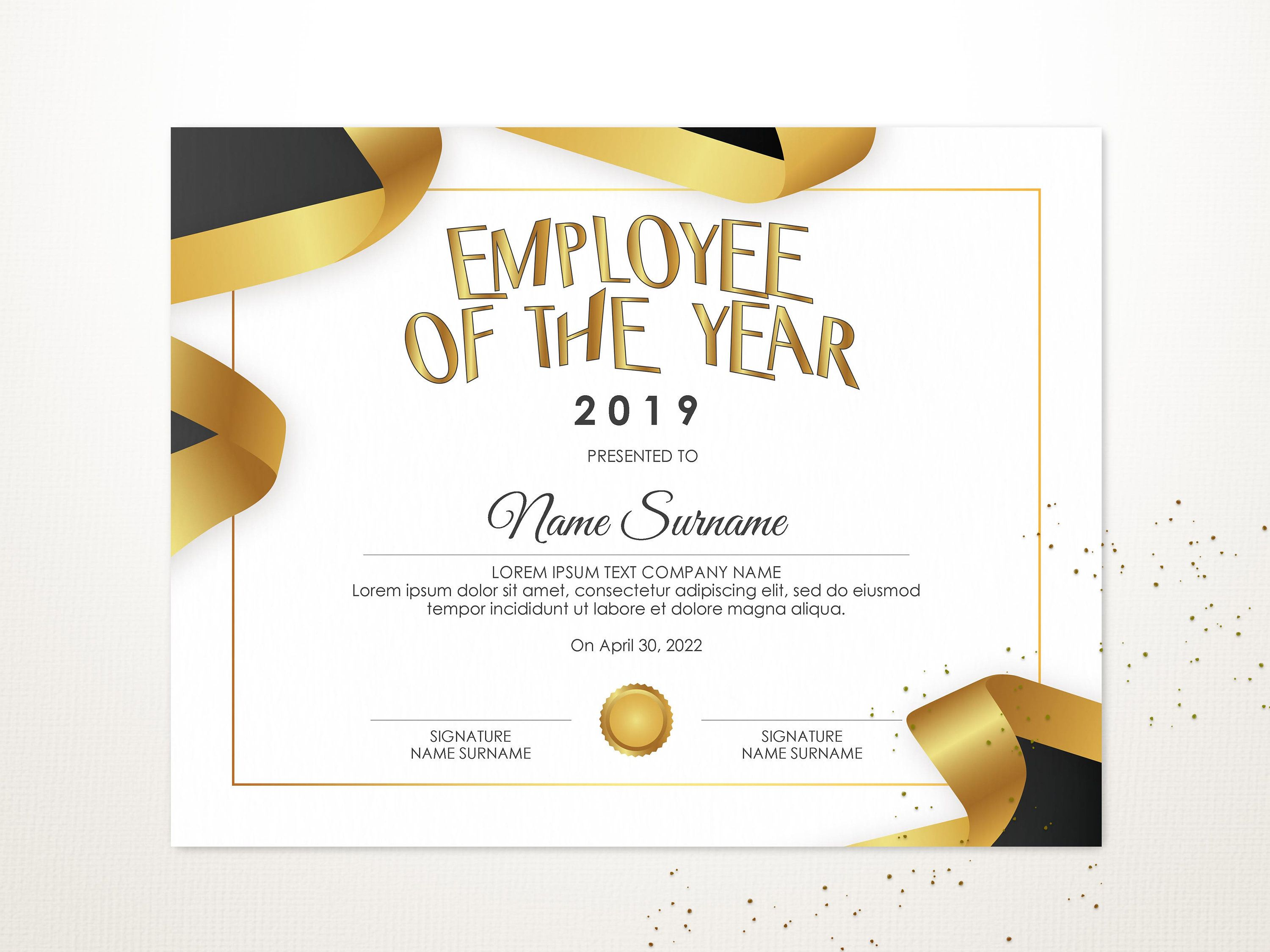 Editable Best Employee Of The Year Certificate Template Etsy Certificate Templates Editable Certificates Printable Certificates