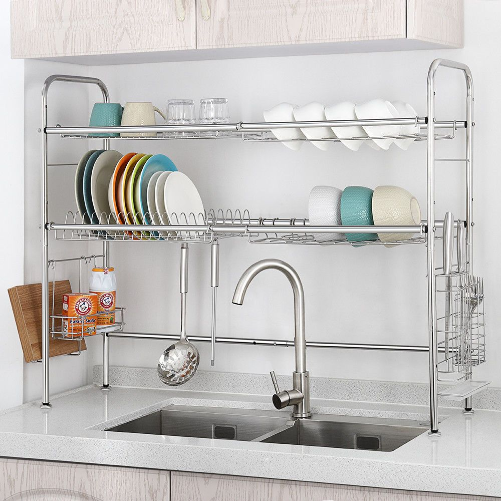 Dish Rack 2 Tier Double Slot Stainless Steel Dry Shelf Kitchen