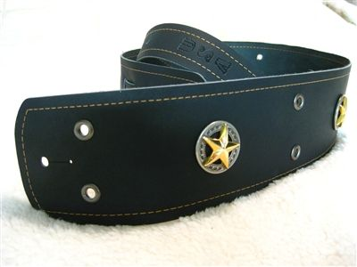 Black Leather Guitar Strap- Western Concho- Texas Star-  Gold Stitching