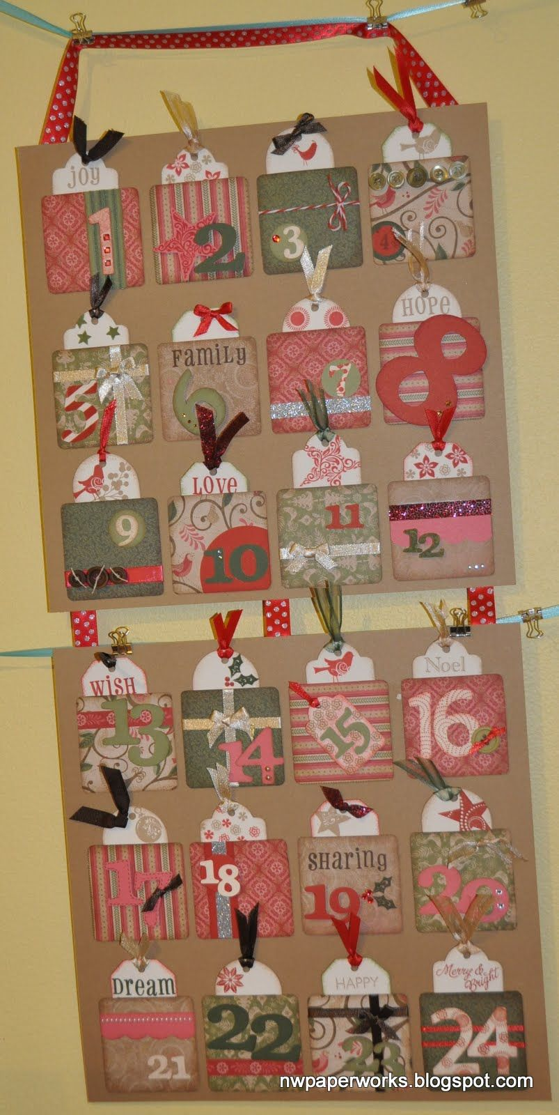 nwpaperworks.blogspot.com  CTMH- Order a kit to create your own!   Activity Advent Calendar- counting down to Christmas with gifts and toys, the pockets are filled with cards labeled with family activities.....  Decorating the tree, hanging the lights, donating to charity, taking a meal to a friend, watching our favorite holiday films, and MAILING OUR HOMEMADE CARDS!!