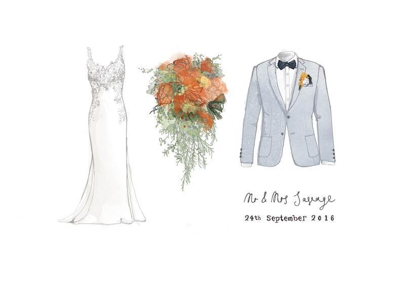 Wedding Anniversary Gift Wedding Dress Illustration Bridal
