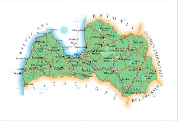 Latvia Map Road Map of Latvia Milakas Latviesu Darguminus My