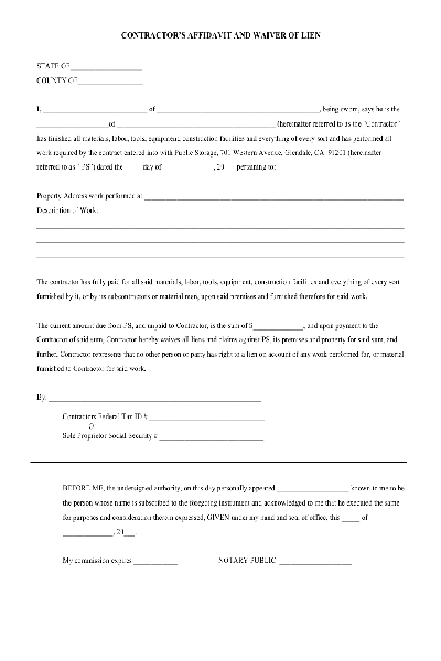 Lien Waiver PDF form Free download Other – Waiver Templates