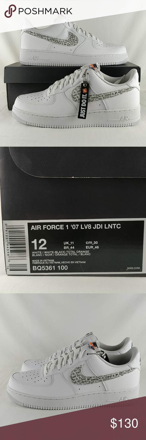 Nike Air Force I 1 07 Lv8 Jdi Lntc Bq5361 100 Nike Air Force I 07 Lv8 Jdi Lntc Just Do It Men S Size 12 Brand New In Nike Dress Shoes Men Nike Air Force