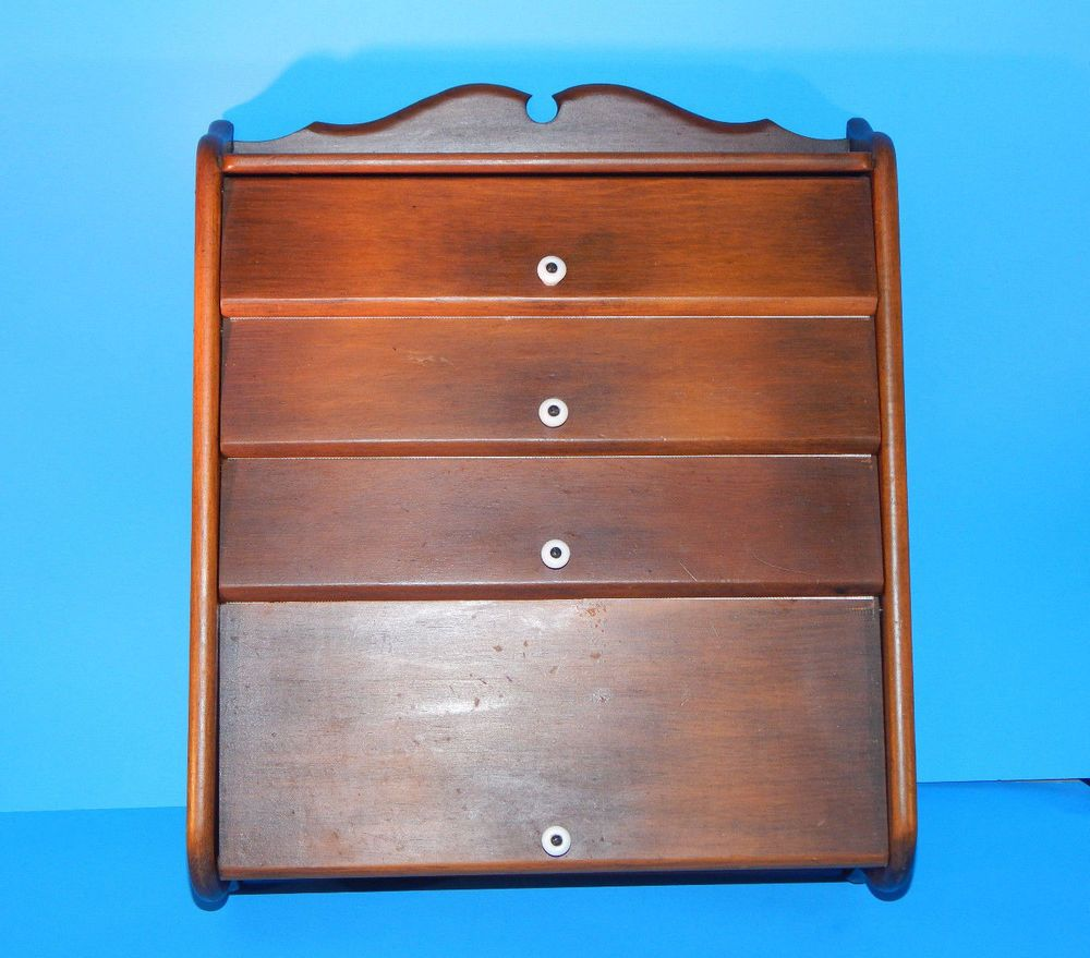 Vintage WOODEN WOOD KITCHEN WALL CABINET HOLDER STORAGE