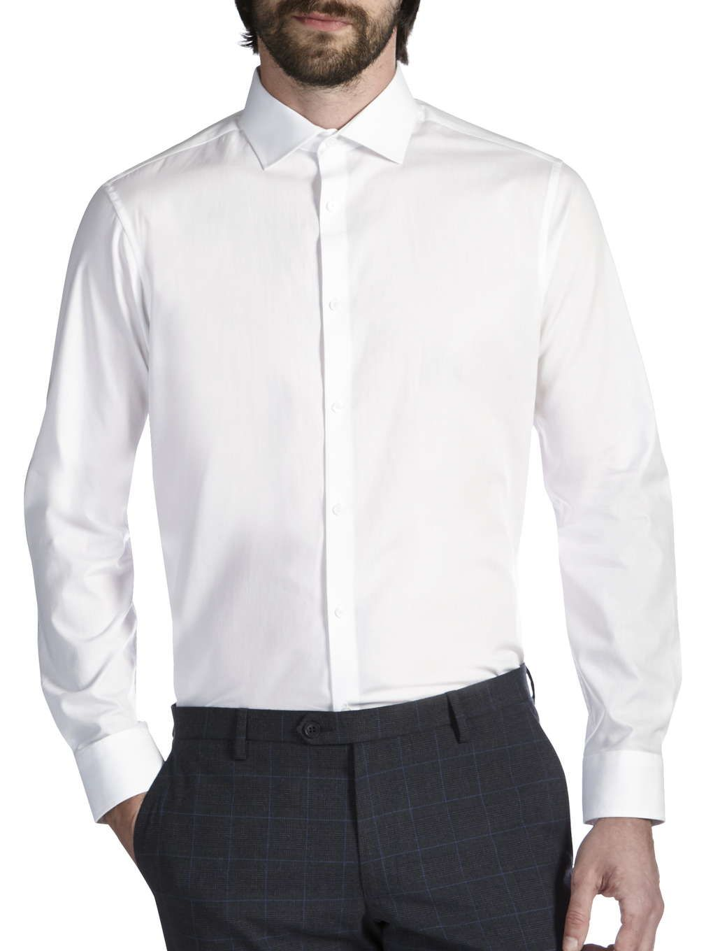 White Tailored Cotton Cutaway Collar Shirt Mens Clothing View All