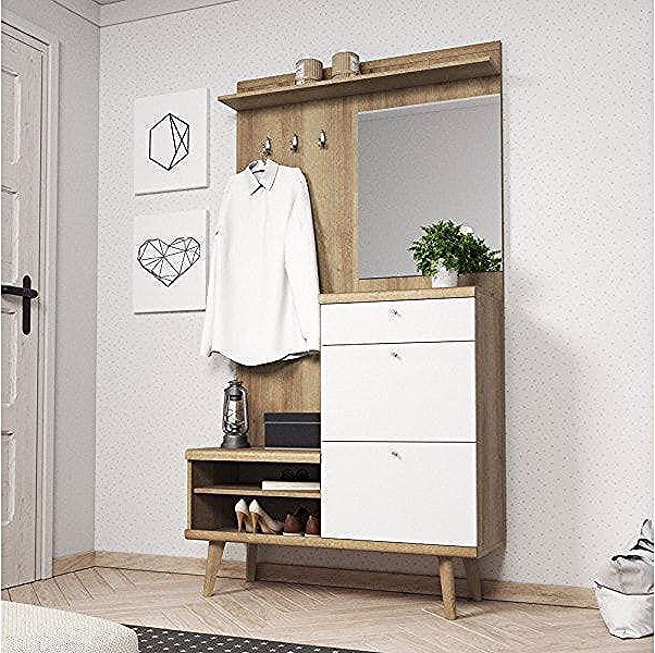 Meuble D Entree Pristeg 110 Cm Blanc Mat Chene Riviera Miroir O74917207 In 2020 Furniture Home Organisation Furniture Shop