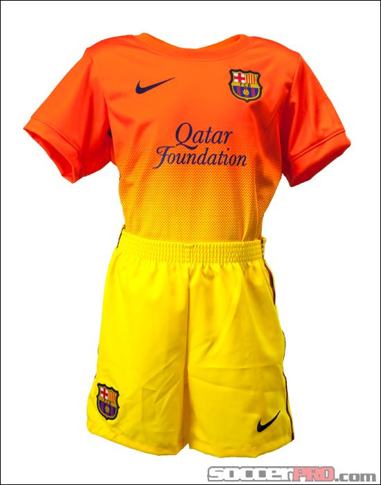 classic fit 4be04 a2578 Nike Barcelona Lil Boys Away Kit - Safety Orange with Yellow ...