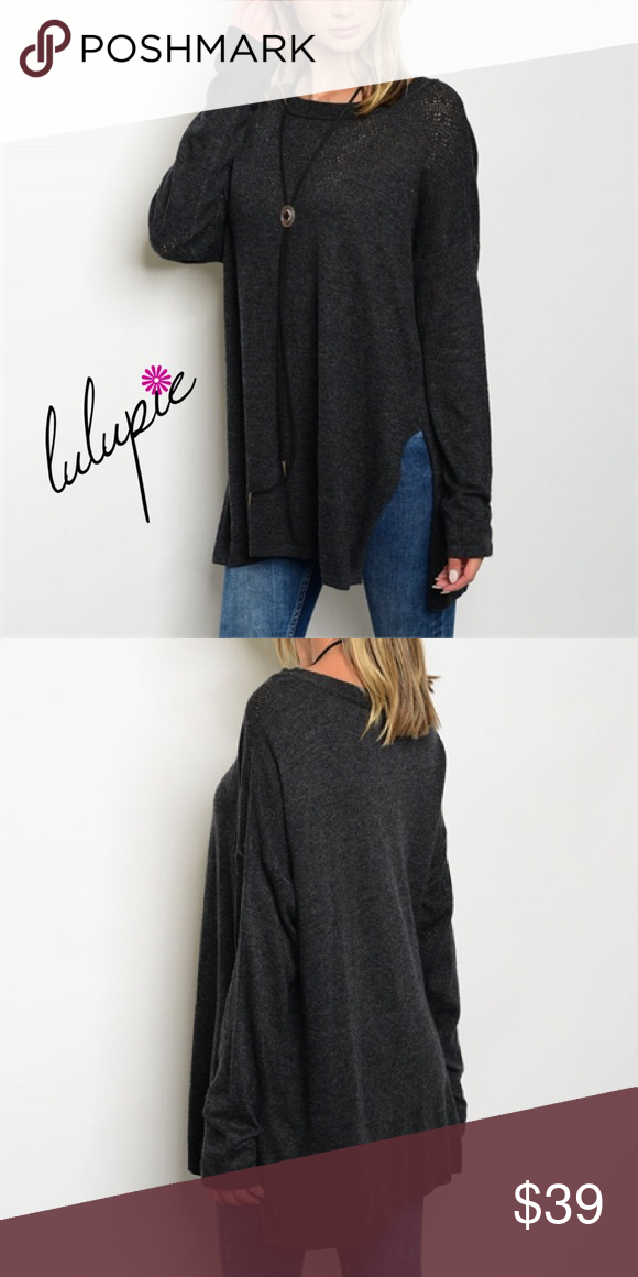 """Touch of Cashmere Oversized Sweater Oversized charcoal gray sweater featuring a side slit and round neck. Made of Teryline/ viscose/ Nylon/ Cashmere blend. Available in S/M only. Measurements length 31""""/ bust 40"""" Bchic Sweaters"""