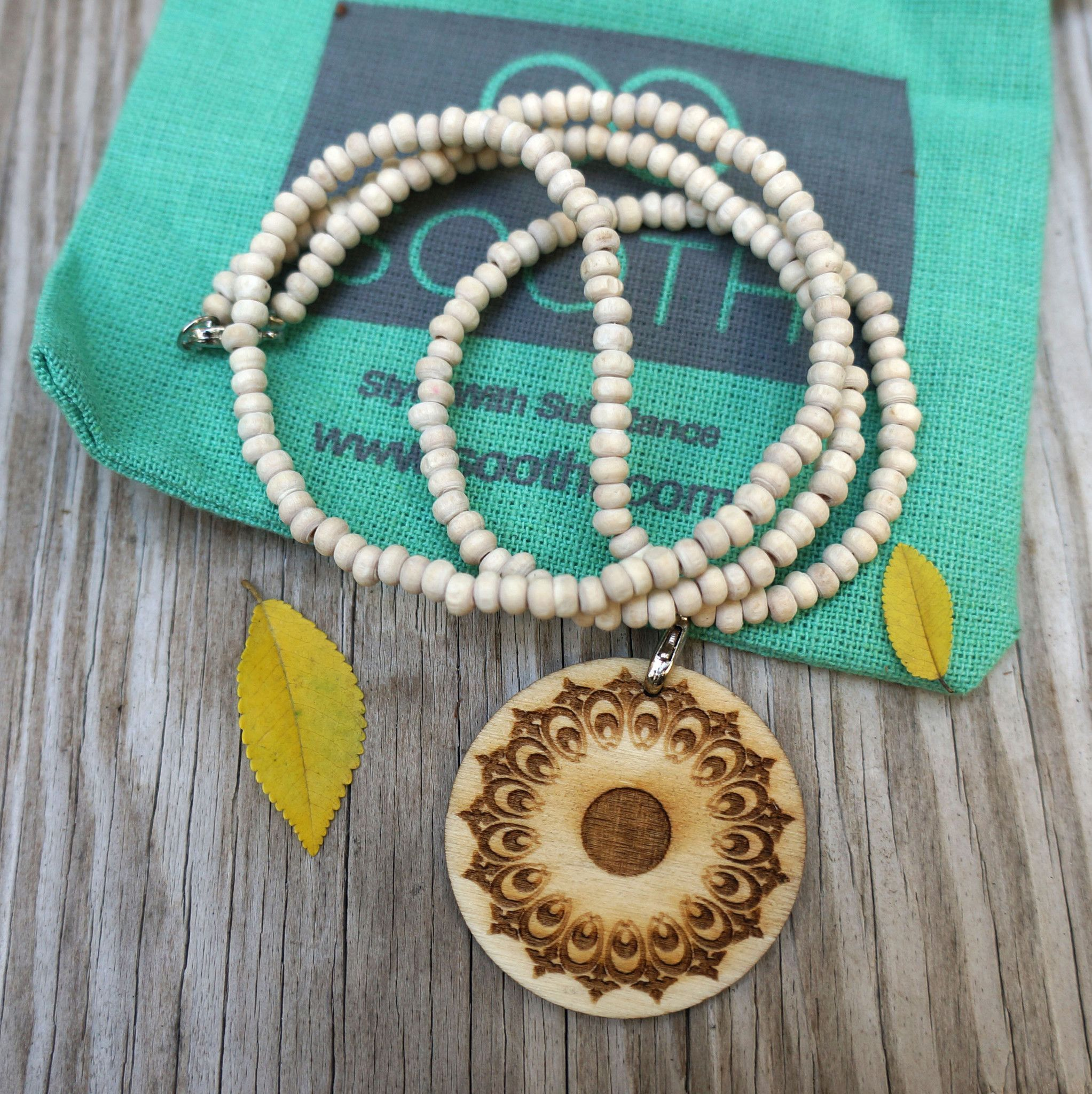 Tulsi Bead Wood Mandala Necklace from Soothi | Style With Substance