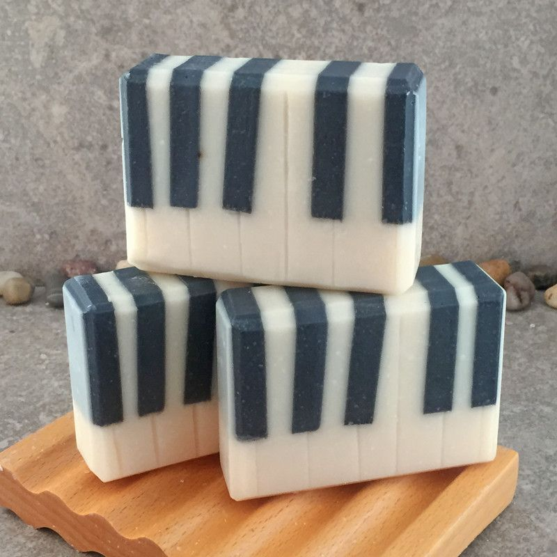 Piano Keys Black and Ivory Soap in a White Ginger and