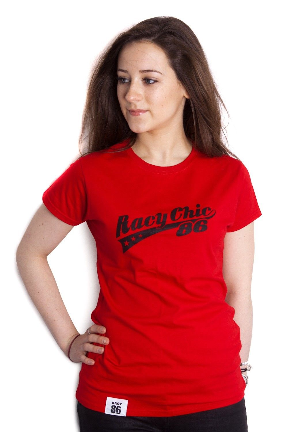 Racy Chic logo tshirt cherry red. Available Racy86 http
