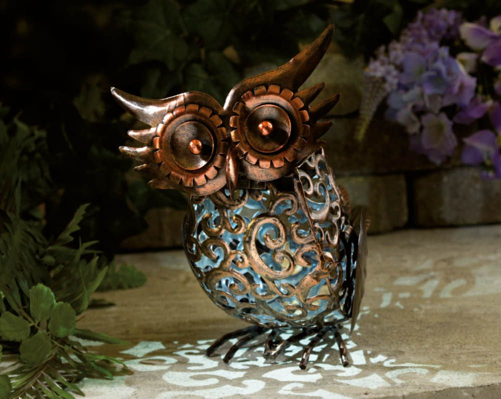 Owl lawn ornaments - Solar Owl Free Standing Led Ornamental Garden Patio Lawn Bronze Effect Gift Idea