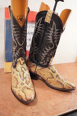 fd279485d7c Nocona Snake Skin Tan Black Mens 11 B (Narrow) Western Cowboy Boots