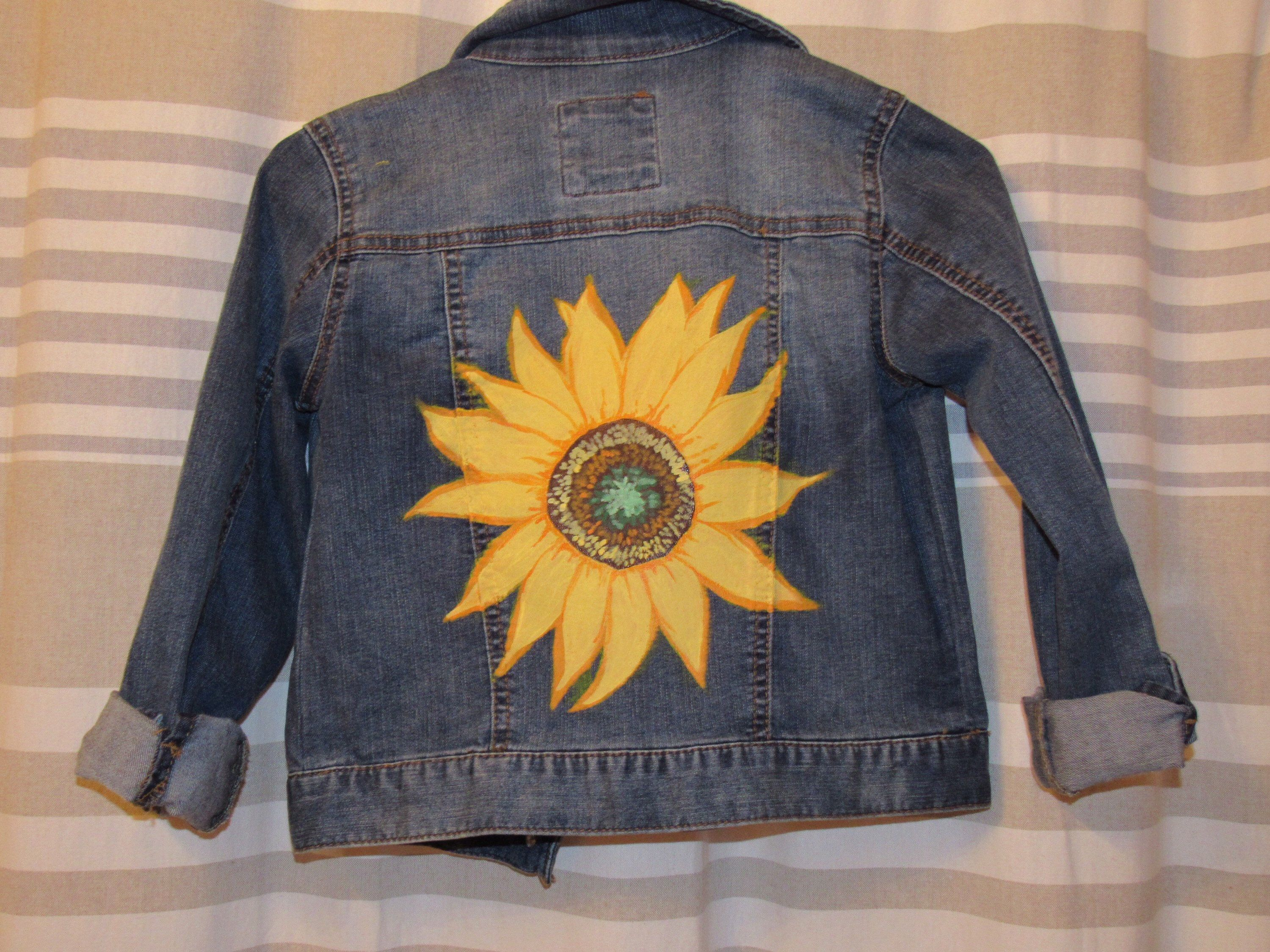 Excited To Share The Latest Addition To My Etsy Shop Sunflower Painted Jean Jacket Art Painting Yellow Landscap Painted Jeans Painted Denim Jacket Design [ 2250 x 3000 Pixel ]
