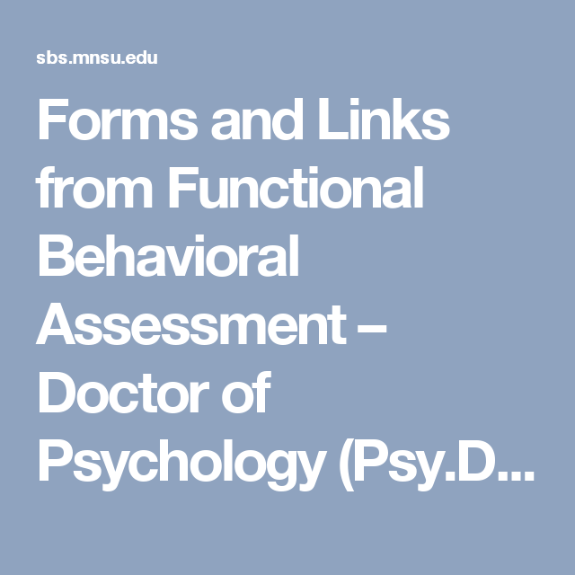 Forms And Links From Functional Behavioral Assessment  Doctor Of