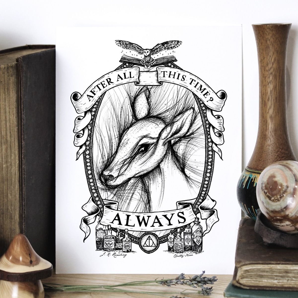 39 always 39 giclee print home is where the heart is drawing vackra ting - Harry potter dessin ...