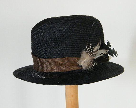 464b7166f black Fedora hat/ straw Fedora hat for women/ dressy straw hat ...
