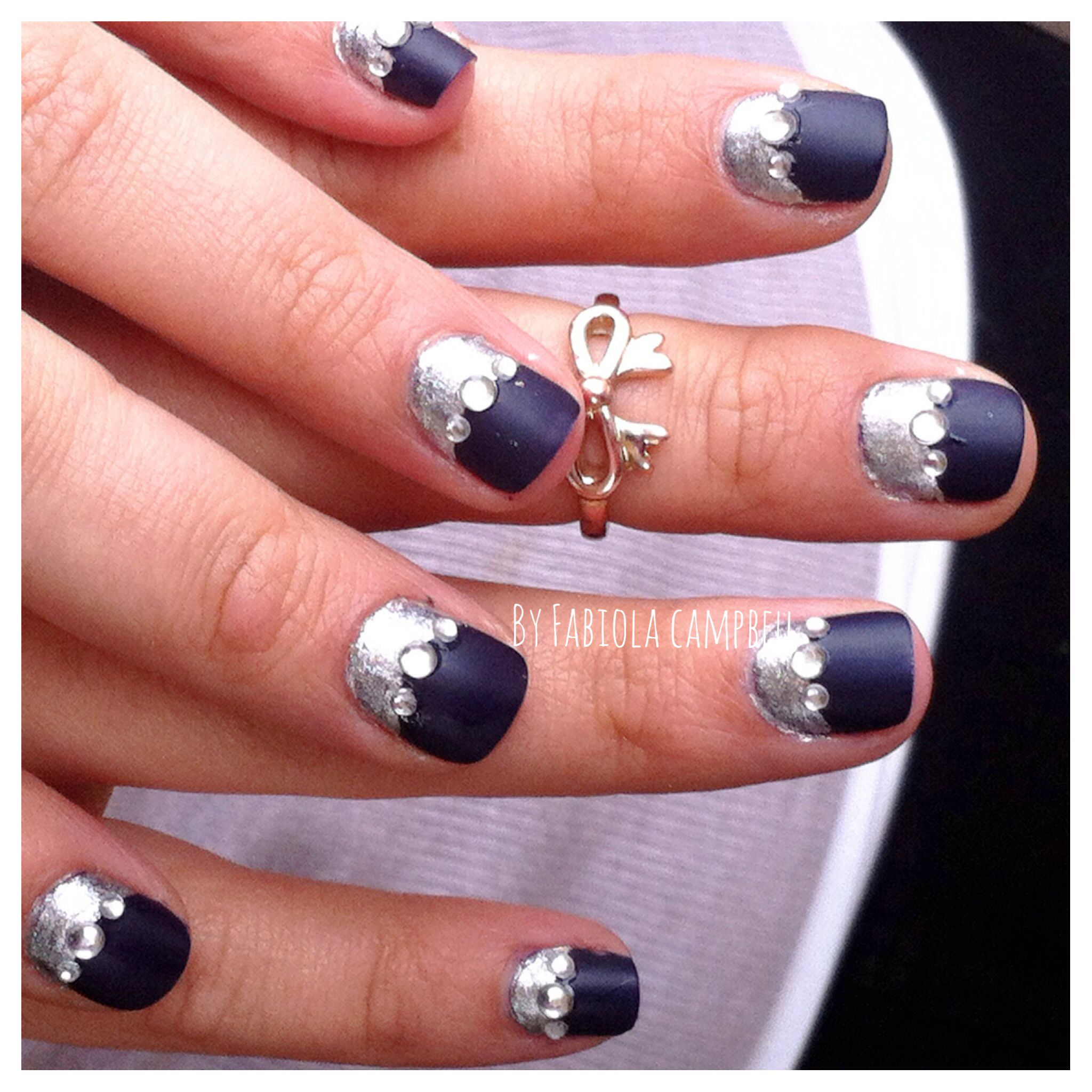 Dark blue and silver nail design, fancy nails | BEAUTY TIPS. And ...
