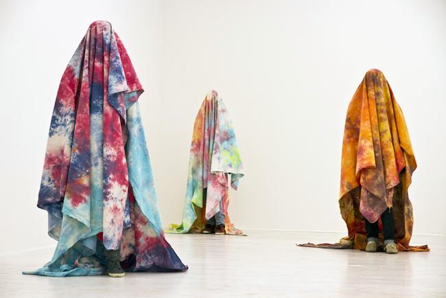 Brendan Lynch, Untitled, 2011, manikins, mixed media and tye-die canvas, installation view at Thomas Brambilla - Castelbasso/Civitella. Cultura contemporanea nei borghi