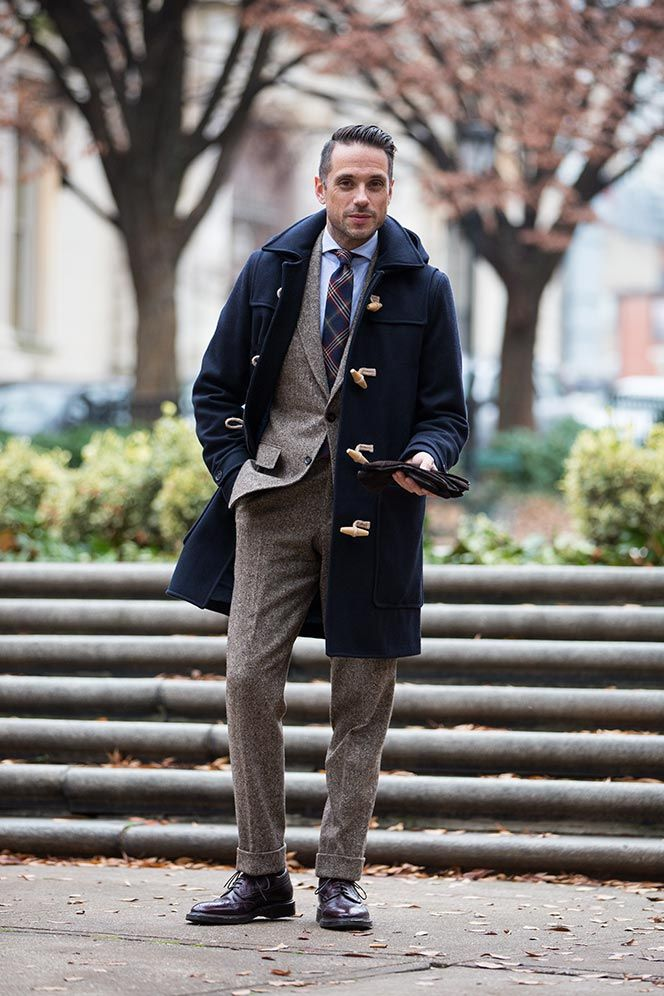 Duffle Coat Over Suit