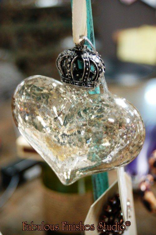 fabulous finishes studio, shop.fabfinisher.com, mercury glass hearts, crown