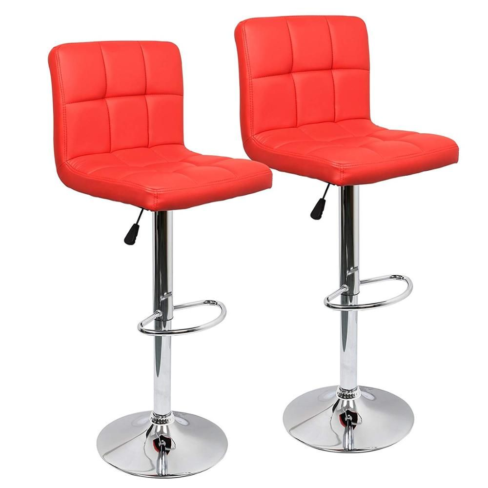 Adjustable Swivel Bar Chair Kitchen Bar Stools Set Of 2 Faux Leather Gas Lift Modern Square Kitchen Leather Bar Stools Bar Chairs Kitchen Modern Square Kitchen