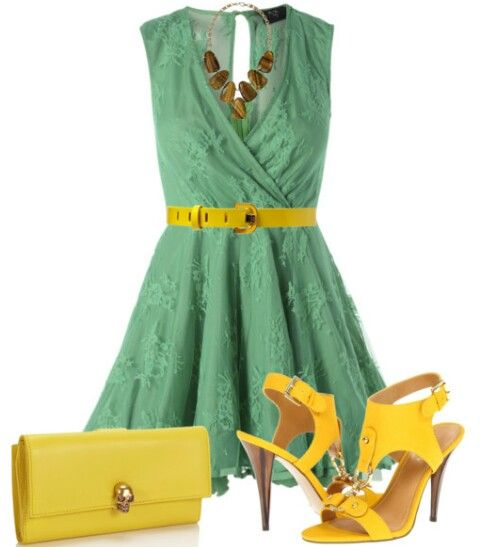 Verde turquesa y amarillo