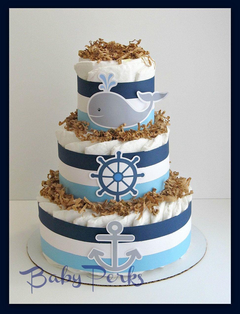 Nautical diaper cake nautical baby shower sailboat for Baby diaper cake decoration