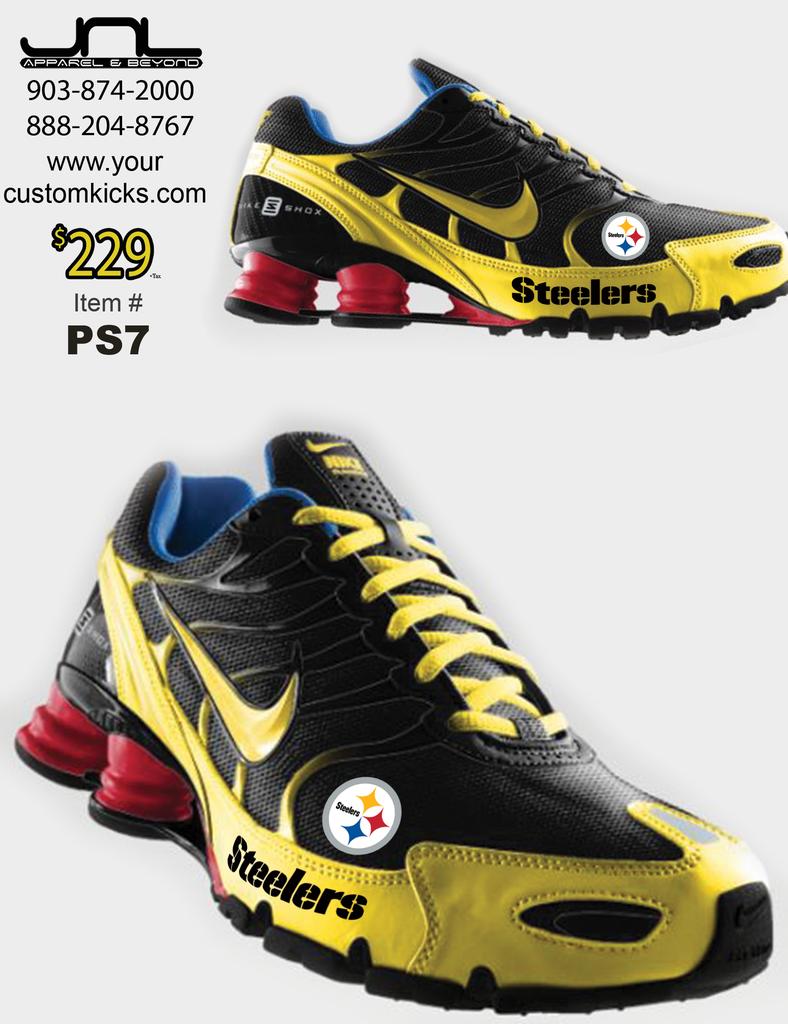 timeless design 03e36 6f809 Steelers Men s Shoes Custom   Custom Pittsburgh Steelers Nike Turbo Shox  Team Shoes