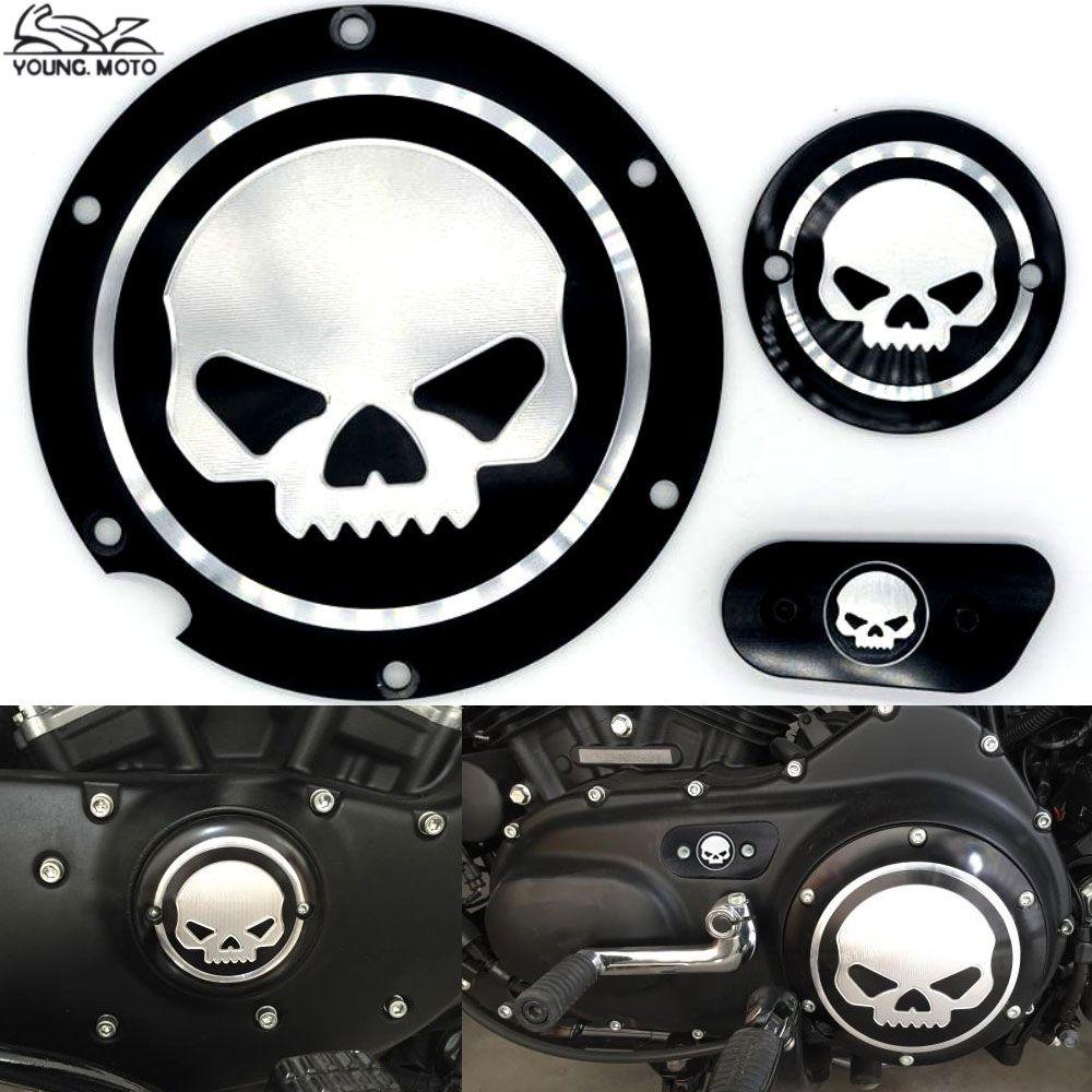 Pas cher Noir Moto Crâne Carter De Distribution Calendrier Accessoires  Derby Minuterie Couverture Pour Harley Davidson