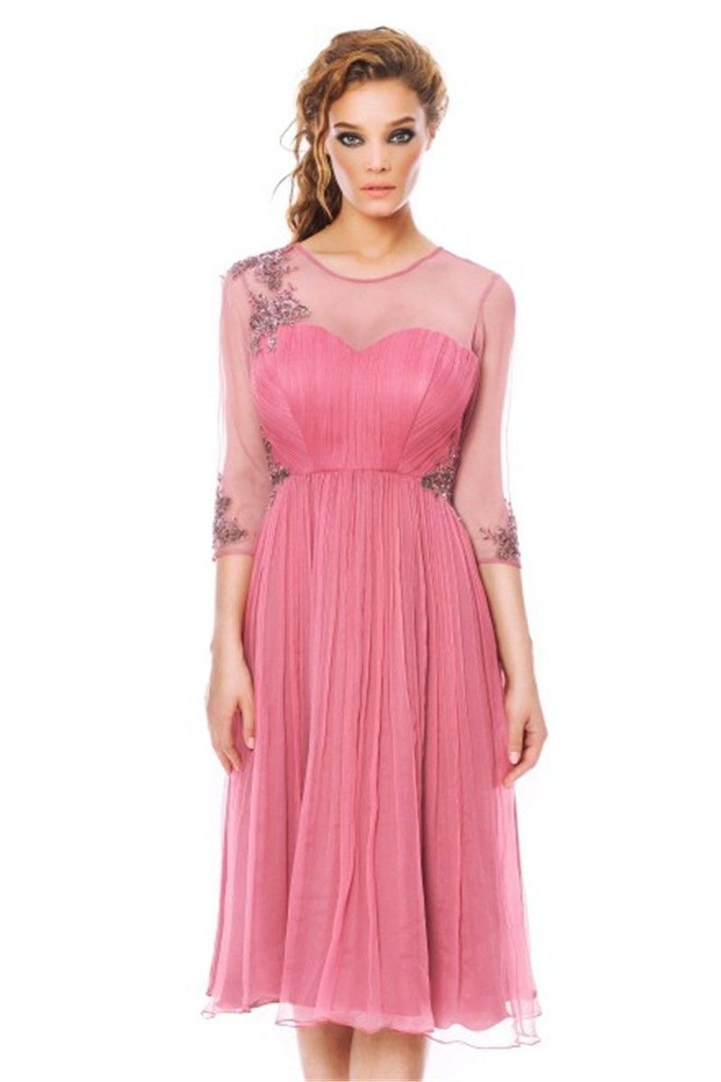 2015 Elegant Short Pink Cocktail Dresses With Sheer Sleeves and Pleat  Vestidos De Coctel Robe De Cocktail Made in China 58125fe95c25