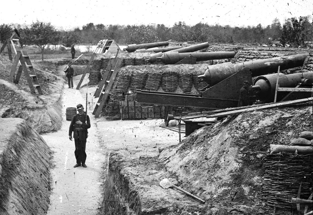 Fortifications at Yorktown, Virginia, during the Peninsula Campaign of 1862. (James F. Gibson/LOC)