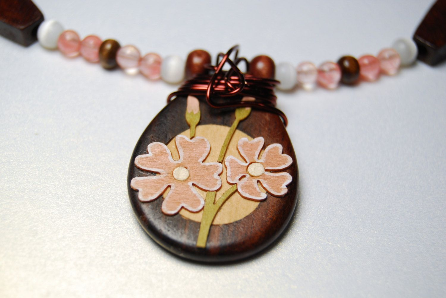 "Wood Flower Pendant // Wire-Wrapped // Pink & White Beaded Necklace // 17"" // Handmade. $22.50, via Etsy."