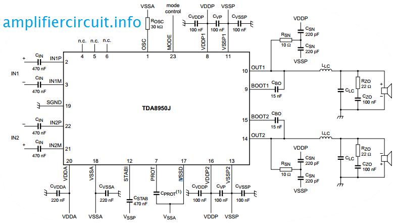 tda8950 2x150w www amplifiercircuit info rh pinterest com Stereo Amplifier Circuit Diagram High Power Amplifier Circuit Diagram