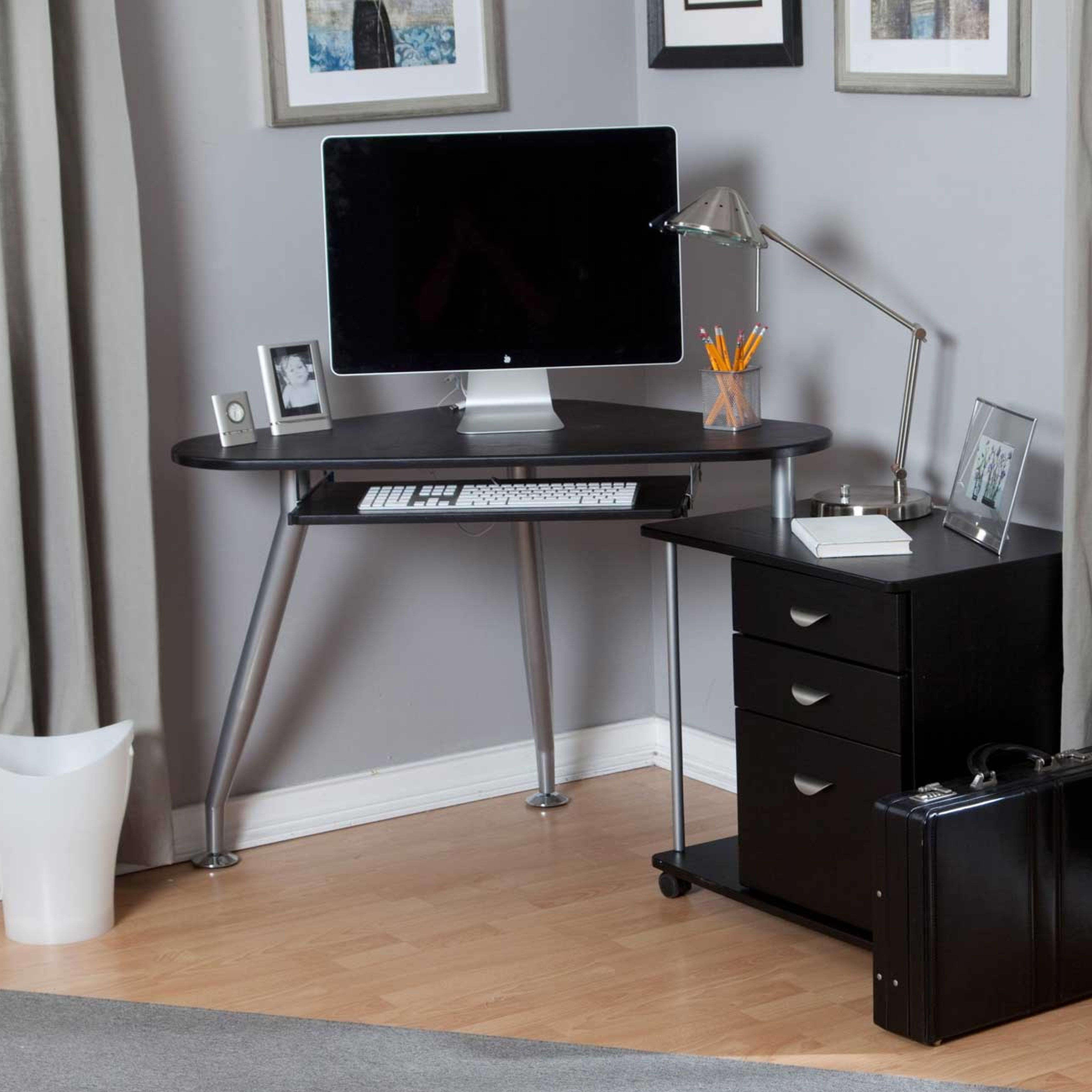Modern Grey Painted Iron Laminated Small Corner Computer Desk