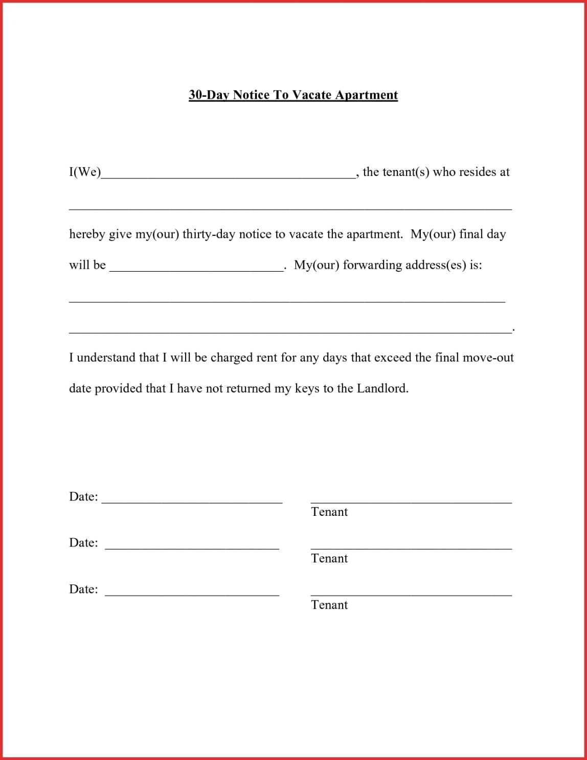 Browse Our Printable 30 Day Notice For Landlord Template In 2020 Simple Cover Letter Template Being A Landlord Lettering