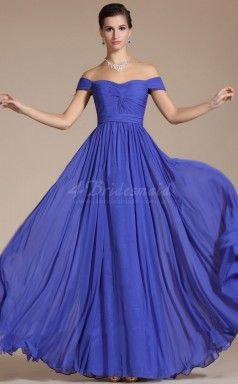 Royal Blue Long A Line Chiffon Bridesmaid Dress With Short Sleeves Jt1394