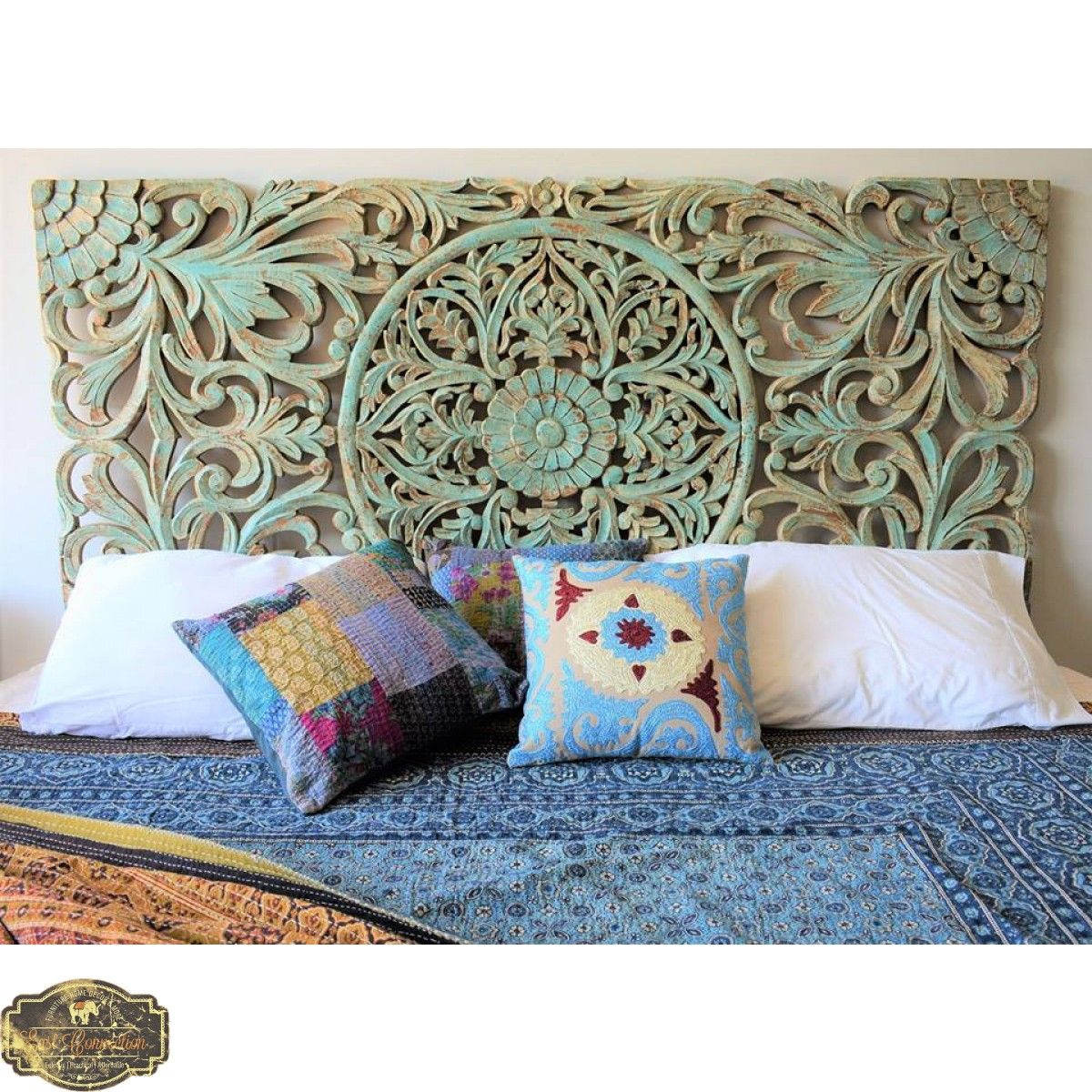 Antique blue timber hand carved bedhead wall art bedroom