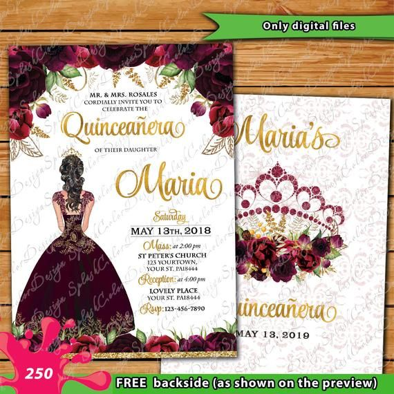 Floral Burgundy Gold Quinceañera invitation sweet