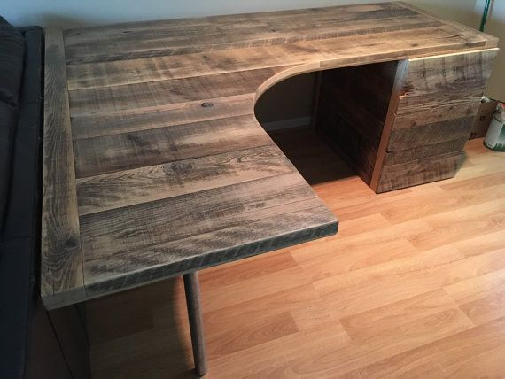 L Shaped Curved Desk with drawers by Reclaimtofame1 on Etsy Rustic