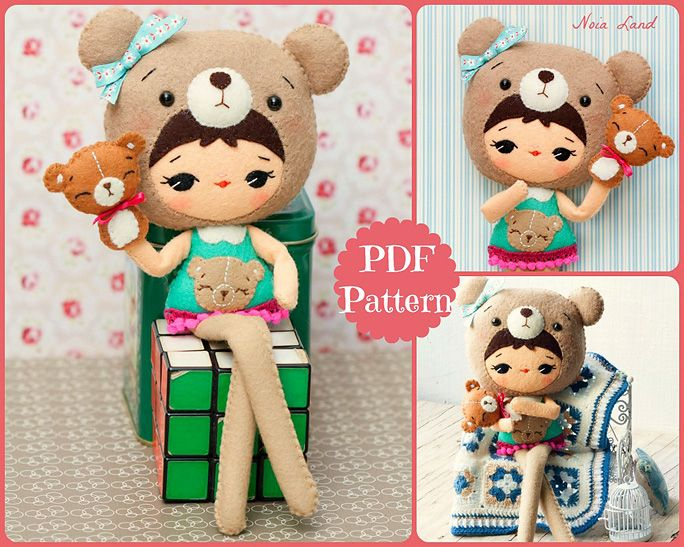 Kitschy Digitals :: Sewing & Needlework Patterns :: Bear Girl Felt Doll Pattern