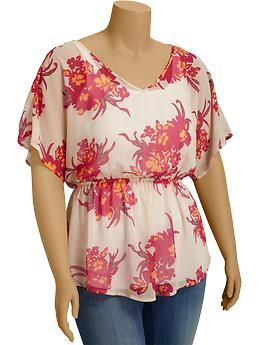 Women's Plus Floral Chiffon Tunics | Old Navy