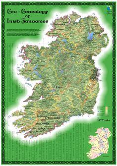Map: Geo-Geneology of Irish surnames